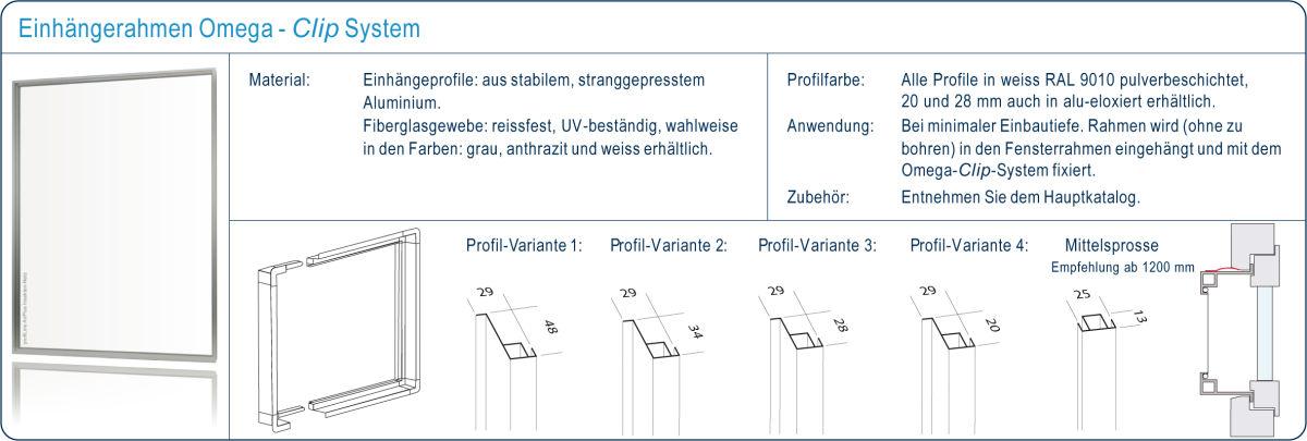 Einhänge-Rahmen Omega für Fenster Mückengitter - profiLine Windhager AG